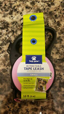 Top Paw Retractable Tape Dog Leash Small 10 Feet Up To 45lbs Pink