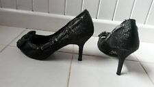 sze 3 CHARCOAL SHOES WITH GREY RIBBON ALL ALONG TOP THEN TIED IN BOW AT FRONT