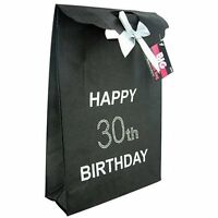 Happy 30th Birthday Glitzy Gift Present Bag in BLACK Diamante Stones