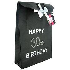 Happy 30th Birthday Glitzy Gift Present Bag in BLACK Diamante Stones