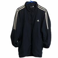 Adidas Mens Track Jacket Size XL Navy Blue Full Zip Activewear Three Stripe Golf