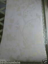 Oriental Garden gold off white wallpaper bird butterfly price per roll