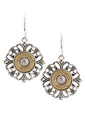 WINCHESTER 38 SPECIAL FAUX BULLET WESTERN GOLD SILVER PLATED FILIGREE EARRINGS