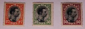 Denmark 1918 Fine MM.  27o, 30o, 50o. €100. See photos