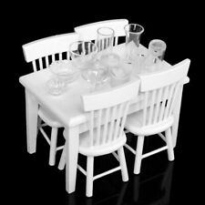 5pcs Miniature Dining Table Chair Wooden Furniture Set for 1:12 Dollhouse-White