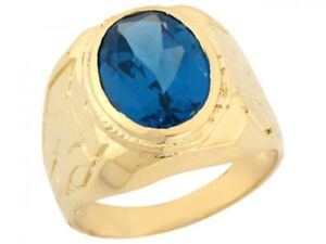 10k or 14k Yellow Gold Simulated Blue Zircon Thick Strong Stylish Mens Ring