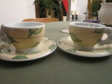 Thun Bozen 2 cappuccino Tassen mit Unterteller grünes  Blätterdesign