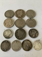 More details for pre 1920 ( 0,925 ) old silver american coins  49gms