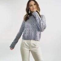 Tess Giberson Gray Crochet Knit Sweater Women's Size Medium