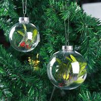 Plastic Clear Transparent Balls Open Bauble Ornaments Christmas Decor DIY