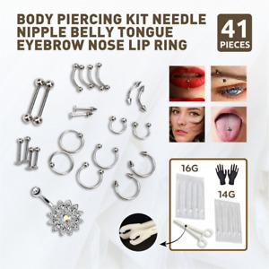 41pcs Body Piercing Kit Needle Nipple Belly Tongue Eyebrow Nose Lip Ring 14G/16G