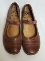 Taos Transit Mary Jane Flat Dark Tan Leather Shoe Size US 8.5 EU 39