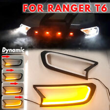 Dynamic LED Head Light Front Shell Cover Trim For Ford Ranger T6 Wildtrak 15-18