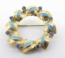 .Vintage 18ct Gold Sapphire & Enamel Italian Circular Brooch Val $1750