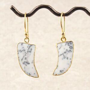 Beautiful Dendrite Opal Yellow Gold Plated Drop Dangle Sword Shape Earrings