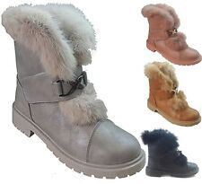 WOMENS LADIES FAUX FUR GRIP SOLE WINTER WARM HI ANKLE BOOTS TRAINERS SHOES SIZE