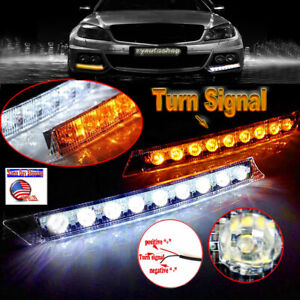 2x Arrow 18 LED DRL Daytime Running Lights Turn signals for Lincoln MKZ Volvo XC