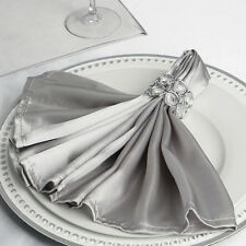 """10 Silver Silky Satin 20x20"""" Light Gray Napkins Party Table Linens Catering Sale"""