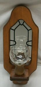 VINTAGE HOMCO / HOME INTERIORS MIRRORED WOOD SCONCE W/ VOTIVE CUP