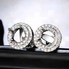 5mm Round 14K White Gold Natural 0.37ct Diamond Stud Earrings Settings