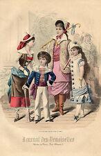 """68/ GRAVURE DE MODE """"  JOURNAL des DEMOISELLES """" 1880 SUPERBES COULEURS !"""