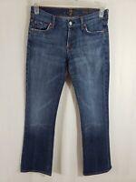 7 for All Mankind Long Boot Cut Womens Denim Blue Jeans Size 28 x 30 Medium Wash