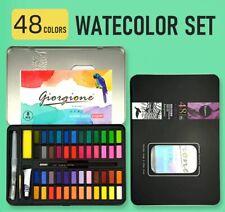 48 Color Solid Watercolor Set Black Iron Box Paint Pigments Art Paper Brush Pen