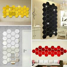 12Pcs 3D Mirror Wall Stickers Hexagon Removable Art Decal DIY Office Decor O2O3
