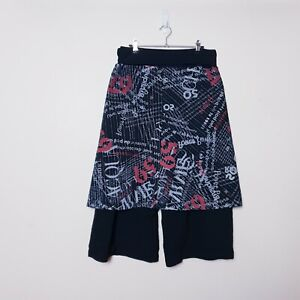Thompson Womens Plus Size L Large Black Skirt Pants Graphic Print on skirt