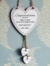 Two Hearts One Love Silver Anniversary Personalised Heart Plaque - Couple Gift
