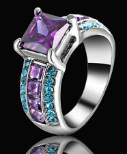 Purple Amethyst Engagement Ring Lady's CZ 10kt White Gold Filled Jewelery Size 8