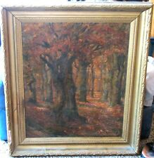 Catskills, NY Oil-1912-Sunlit Trees In Fall-By C Strahlendorff-Fabulous Quality