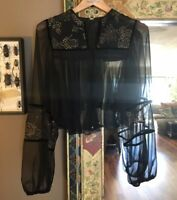 VINTAGE 1940's HAND PAINTED gold leaf BELL SLEEVE velvet trim BLOUSE cardigan