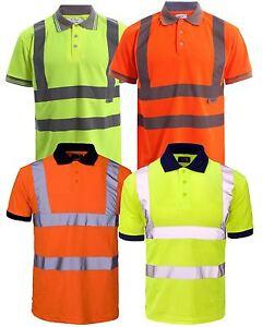 HI Visibility High Viz Short Sleeve Safety Workwear Yellow Orange Polo T shirt