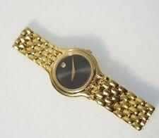 Movado Women's 87E3817 Museum Black Analog Dial Gold Tone Steel Watch