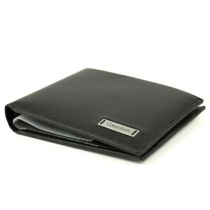 Calvin Klein Mens Smooth Leather Wallet Coin Pouch Black Bifold