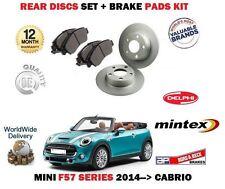 FOR BMW MINI 1.5 D 2.0 COOPER 2014-> REAR BRAKE DISCS 259mm SET + DISC PADS KIT