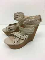 WOMENS NEW LOOK NUDE LEATHER STRAPPY BUCKLE PLATFORM HIGH HEELS SHOES UK 6 EU 39