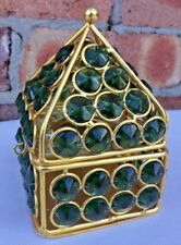 Metal Vintage TeaLight Home Decor Christmas Green Crystal Beads Gold 9x9x13cmNew