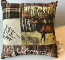 "Deer Shelf Pillow Welcome to My Home 10.5x10.5"" Country Cabin Rustic Hunting"