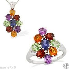 Platinum Overlay Silver Multi Gemstone RING AND NECKLACE  Set W/Chain RING