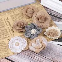 5pcs Handmade Jute Hessian Burlap Rose Flowers Vintage Rustic Wedding  ZB