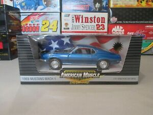 1969 Ford Mustang Mach 1 Blue ERTL American Muscle Limited Edition 1:18 Scale