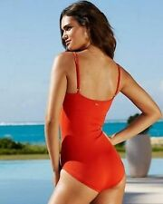Anne Cole Cranberry Red Spaghetti Strap Maillot One Piece Swimsuit Sz 12 K5