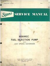 Simms Minimec Fuel Injection Pump Leaf Spring Governor Workshop Service Manual