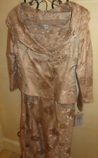 Adrianna Papell Occasions Gold/ Cream Skirt Suit 2PC, Size 12, BRAND NEW