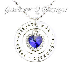 Personalised Family Name Crystal Heart Necklace Birthday Valentine Day Gift D114