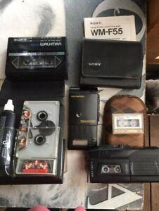 Sony Walkman WM- F55 ,cassette cleaner,Micro cassette recorder+FREE Olympus S930