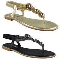 Womens Ladies Elastic Strap Comfy Flat Bling Summer Toe-Post Sandals Shoes Sizes