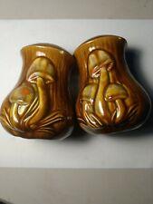 Mushroom Salt and Pepper Shakers Brown Glaze Vintage